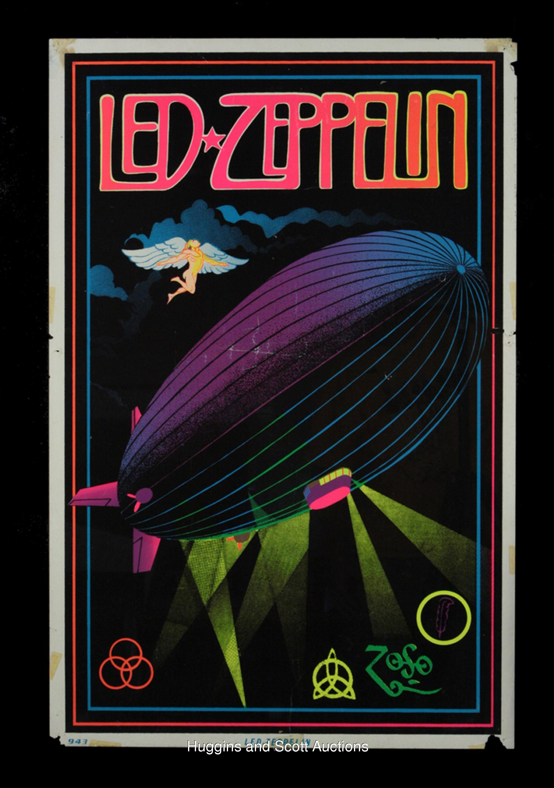 2 Early 1970s Led Zeppelin Original Black Light Posters
